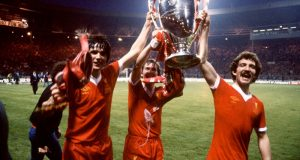 european cup final 1978 liverpool v brugge - alan hansen kenny dalglish and graeme souness of liverpool lift the trophy left to right
